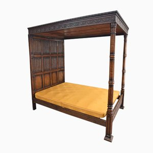 Antique Carved Oak 4-Poster Bed