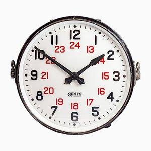 Reloj industrial grande de doble cara iluminado de Gents of Leicester, años 30