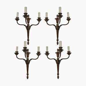 Bronze Sconces, 1920s, Set of 4