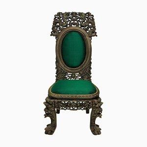 Antiker chinesischer Beistellstuhl aus Seide