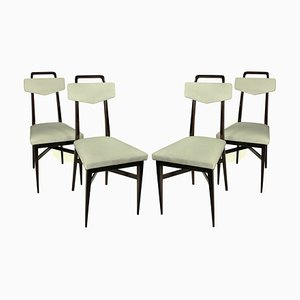 Italian Mahogany and Velvet Dining Chairs, 1950s, Set of 4