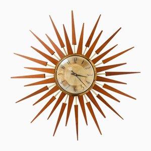 Mid-Century Teak Sunburst Wall Clock from Anstey & Wilson, 1960s