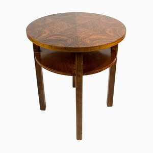 Round Coffee Table in Walnut Veneer by Jindrich Halabala, 1930s