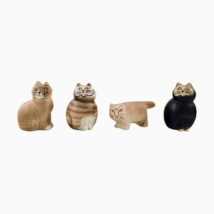 Cats in Glazed Ceramic by Lisa Larson for Gustavsberg, 1970s, Set of 4