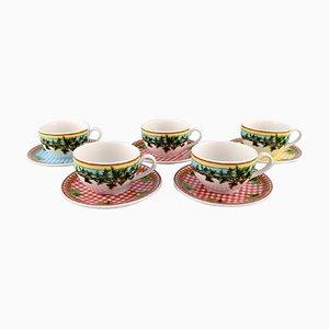 Große Ivy Leaves Teetassen mit Untertassen von Gianni Versace für Rosenthal, 10er Set