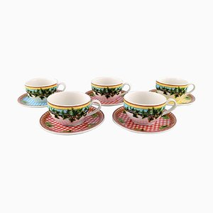 Large Ivy Leaves Teacups with Saucers by Gianni Versace for Rosenthal, Set of 10