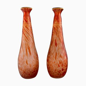 Vases in Mouth-Blown Art Glass with Gold Decoration from Legras, France, 1930s, Set of 2