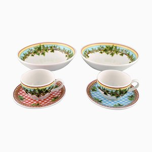 Ivy Leaves Cups with Saucers and Two Bowls by Gianni Versace for Rosenthal, Set of 6