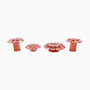 Krimolin Kerzenhalter aus rosa Kunstglas von Ann & Göran Wärff für Kosta Boda, 4er Set