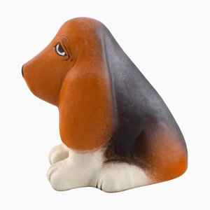 Basset Hound in Glazed Ceramic by Lisa Larson for K-Studion / Gustavsberg