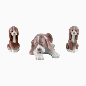 Porcelain Figurines Sleeping Dog and Two Puppies from Lladro, Spain, Set of 3