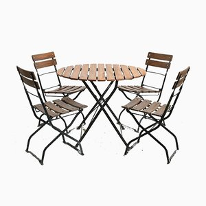 Vintage German Round Patio Table & Chairs Set