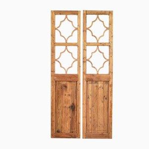2-teiliger Holztür Raumteiler, 1950er