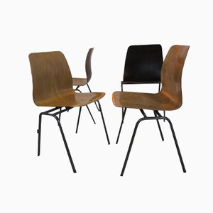 Vintage Industrial Plywood Chairs from Galvanitas, 1970s, Set of 4