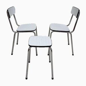 Mid-Century Chrome Dining Chairs with Matching Stool, Set of 3