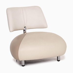 Cream Leather Pallone Armchair from Leolux