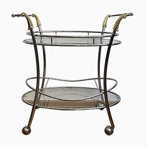 Italian Bar Trolley with Chrome Frame and Brass, 1950s