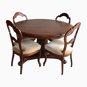 Antique Biedermeier Mahogany Dining Table & Chairs, Set of 5