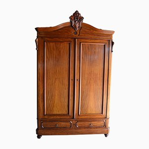 Antique Mahogany Crested Cabinet