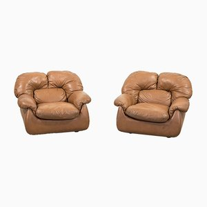 Italian Modern Brown Leather Lounge Chairs, Set of 2