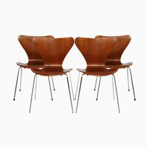 Chaises Vintage en Teck par Arne Jacobsen pour Fritz Hansen, Set de 4