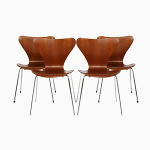 Vintage Teak Chairs by Arne Jacobsen for Fritz Hansen, Set of 4