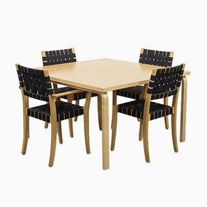Scandinavian Modern Dining Table & Chairs Set by Alvar Aalto for Artek