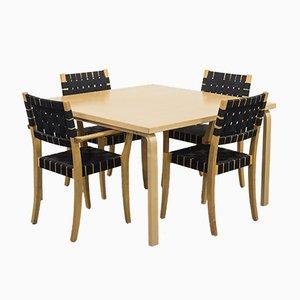 Scandinavian Modern Esstisch & Stühle Set von Alvar Aalto für Artek