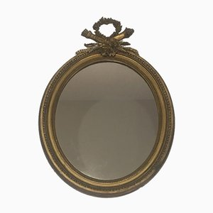 19th Century French Louis XVI Wood and Gold Stuck Mirror