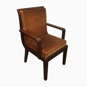 French Art Deco Rosewood Desk Armchair, 1930s