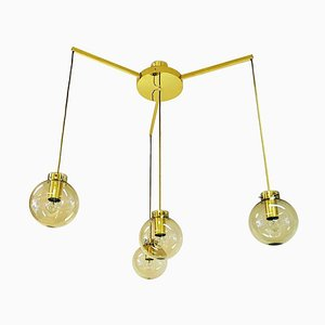 Large Ceiling Lamp in Brass and Glass from Høvik Verk, Norway, 1970s