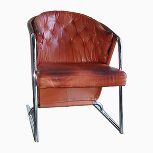 Mid-Century Modern Tufted Leather Armchair, 1970s