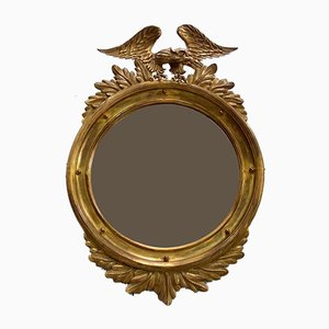 Antique Empire Golden Wood Round Mirror