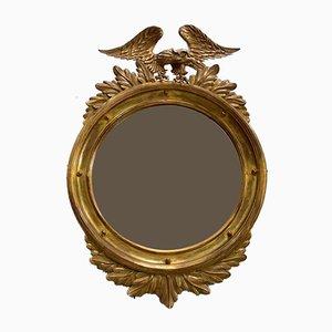 Miroir Rond Empire Antique en Bois Doré