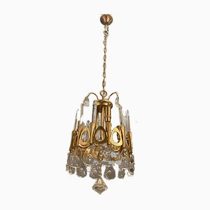 Lampadario Mid-Century in cristallo e oro di Gaetano Sciolari, anni '70