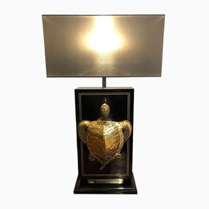 Black Lacquered Brass Table Lamp with Tortoise, 1970s