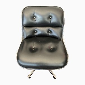Black Leather Pollock Lounge Chair by Knoll for Knoll Inc. / Knoll International, 1980s