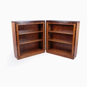 Art Deco Open Bookcases in Walnut and Macassar Ebony, 1930s, Set of 2