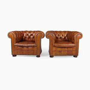 Tan Leather Buttoned Chesterfield Club Chairs, 1950s, Set of 2