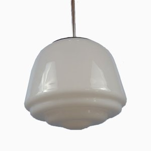 Mid-Century Opaline Ceiling Lamp with Monk Cap Suspension