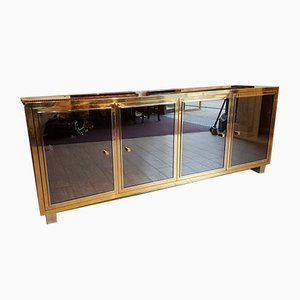 Large Mid-Century Brass and Mirror Buffet by Michel Pignères, 1960s