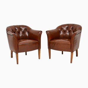 Antique Swedish Deep Buttoned Leather Armchairs, Set of 2
