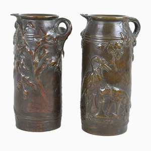 19th Century Fountain Fables Vases in Bronze by Ernest Sanglan, Set of 2