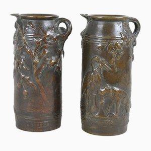 Fayence Fabrics Vasen aus Bronze von Ernest Sanglan, 2er Set