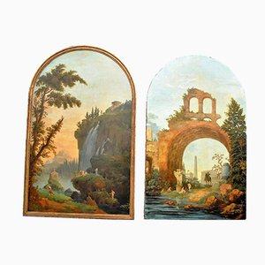 Large 19th Century Rome and Tivoli Paintings by Roman Follies, Set of 2