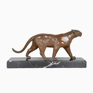 Art Deco Bronze Panther Skulptur von Outline, 1930er