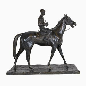 Jockey on Horseback Sculpture in Bronze by Paolo Troubetzkoy, 1930s