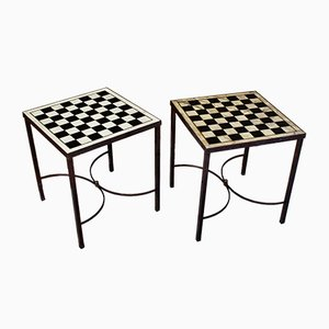 Vintage Brass Side Tables with Checkerboard Stone Tops, 1950s, Set of 2