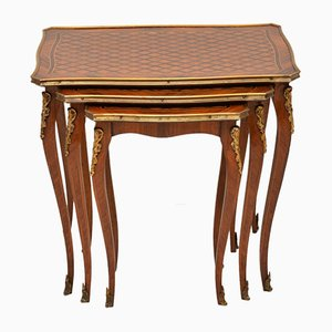 French Inlaid Parquetry Rosewood Nesting Tables, 1920s