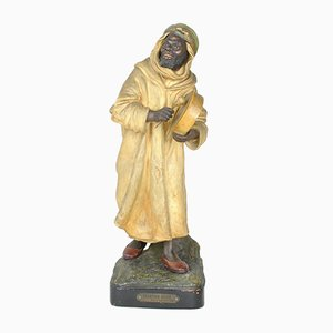 Antique Orientalist Terracotta the Arab Singer Sculpture by Joseph Le Guluche